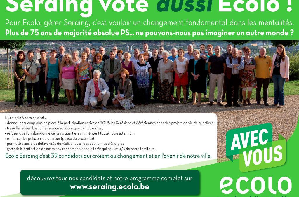 Seraing vote aussi Ecolo