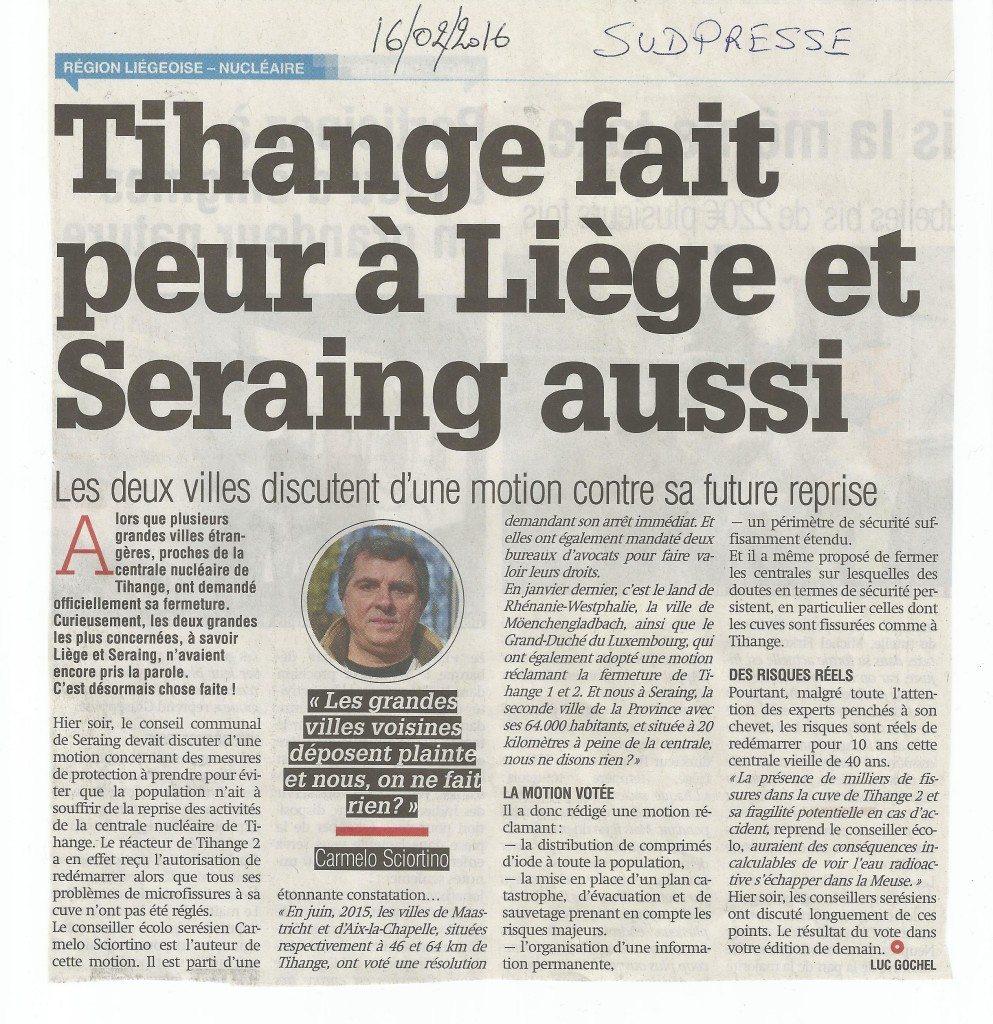 Article journal la Meuse du 16 02 2016